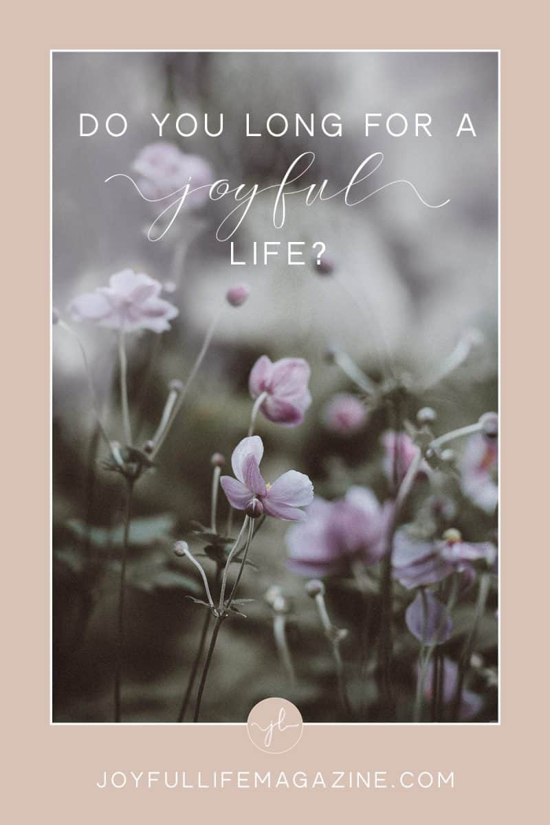 Do you long for a joyful life? The secret to a joyful life is simple - - much more simple than 'choosing joy'. Joy is grown...read more.