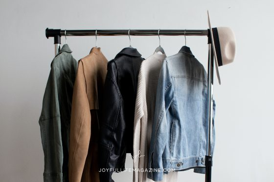 clothes on rack with hat