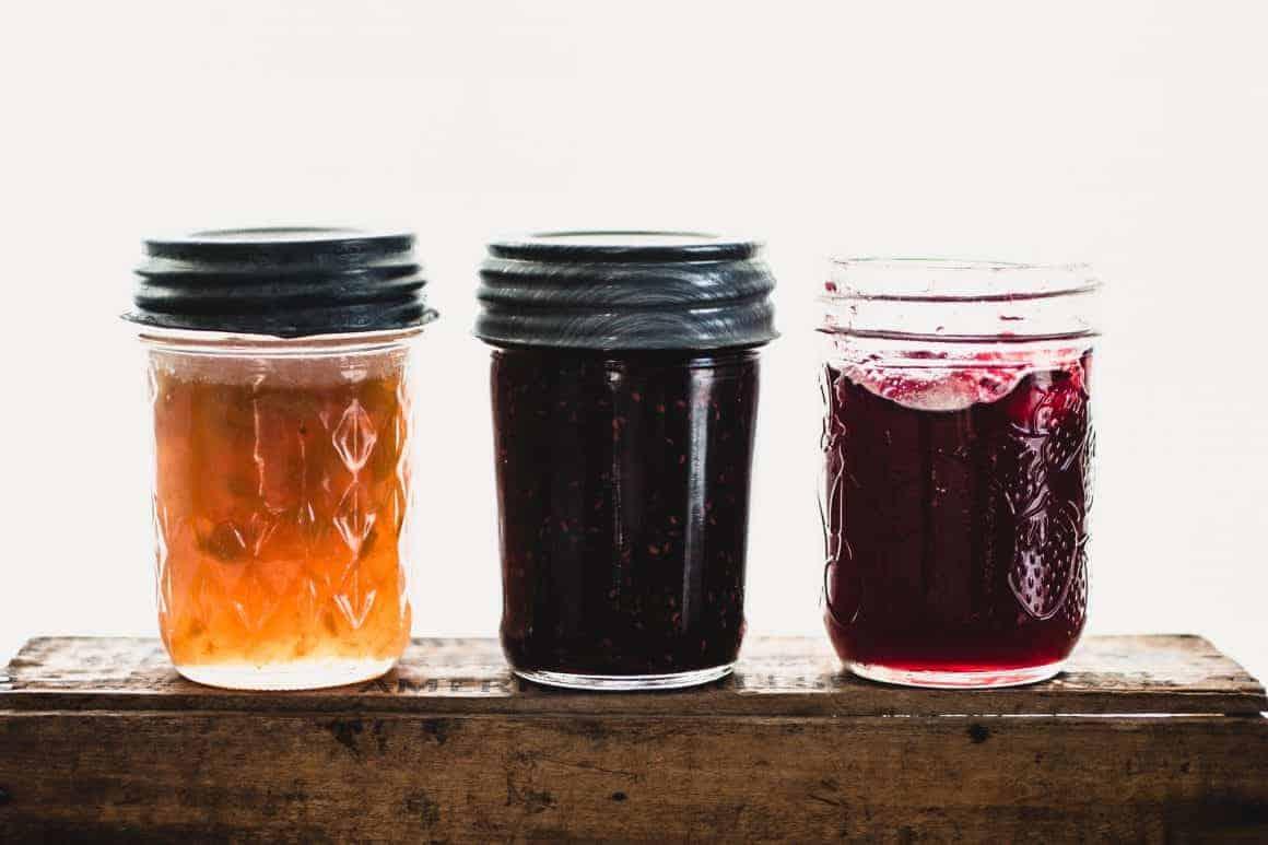 Mason jars of jam
