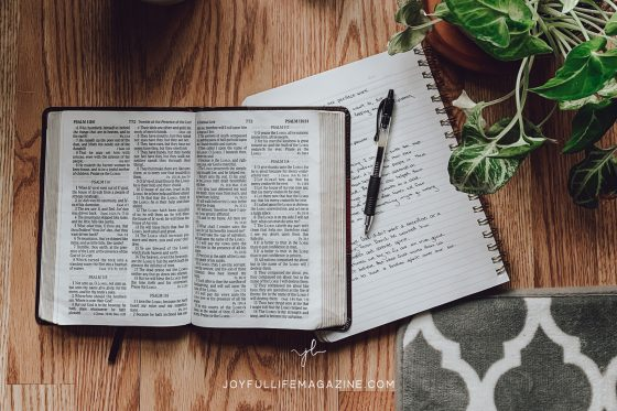 pen on journal next to Bible