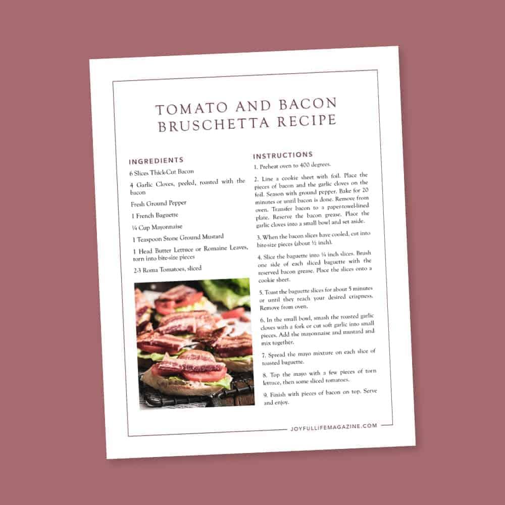 tomato bacon bruchetta recipe