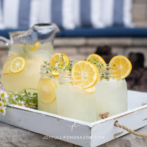 fresh lemonade in jars and pitcher