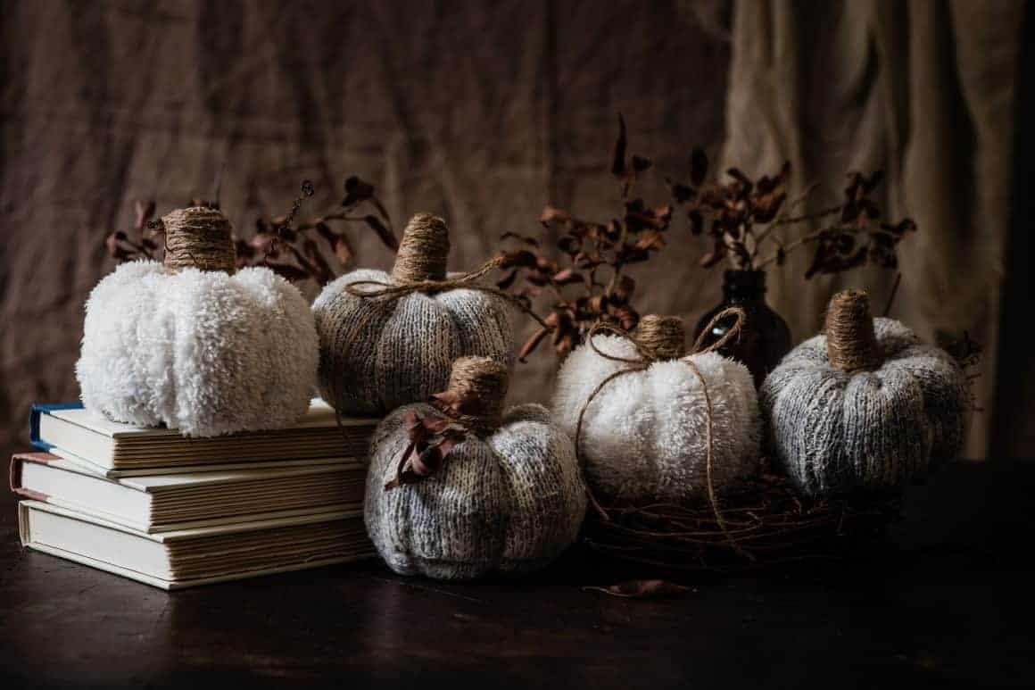 fabric sock pumpkins fall crafts