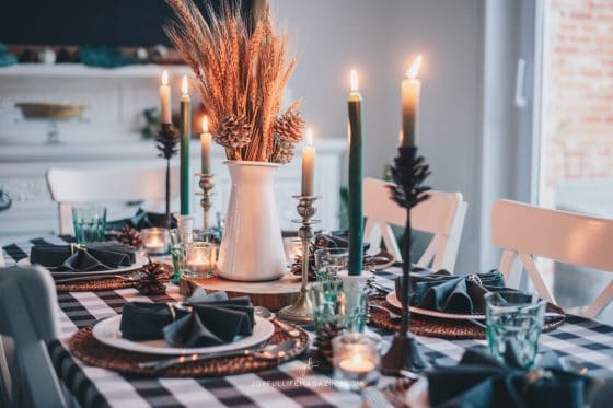 holiday tablescape with candles